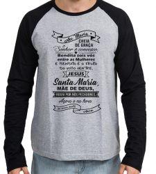 Camiseta Manga Longa Ave Maria Oração