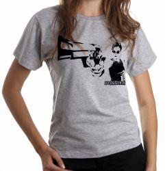 Blusa Feminina Matrix Trinity arma pistola