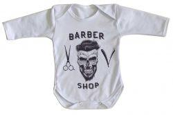 Roupa Bebê manga longa Barbeiro Shop Barbearia