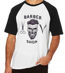 Camiseta Raglan Barbeiro Shop Barbearia