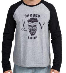Camiseta Manga Longa Barbeiro Shop Barbearia