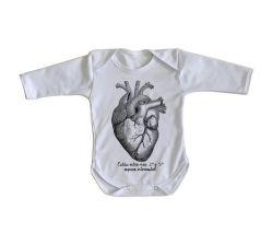 Roupa Bebê manga longa Coração Enfermagem Medicina