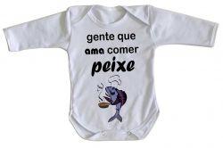 Roupa Bebê manga longa Peixe Pesca Pescador