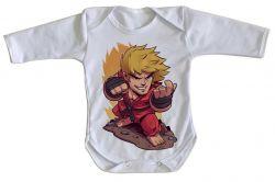 Roupa Bebê manga longa Ken Street Fighter