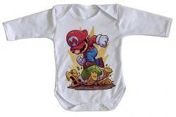 Roupa Bebê manga longa Mario Bros