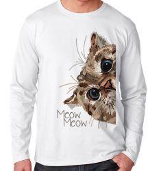 Camiseta Manga Longa Meow gato