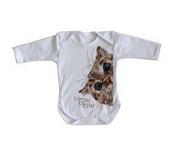 Roupa Bebê manga longa Meow Gato