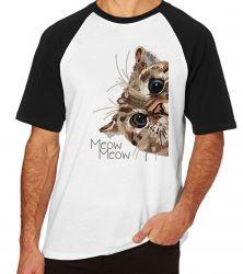 Camiseta Raglan Meow Gato