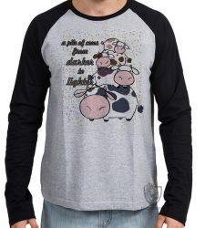 Camiseta Manga Longa Pilha de Vacas