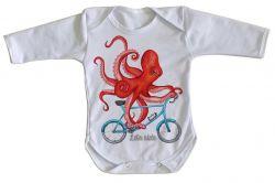 Roupa Bebê manga longa Polvo Bicicleta