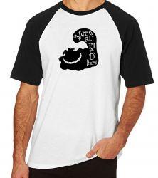 Camiseta Raglan Gato Cat preto