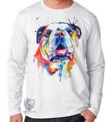Camiseta Manga Longa Cachorro Bulldog