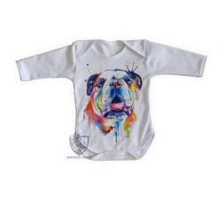 Roupa Bebê manga longa Cachorro Bulldog