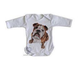 Roupa Bebê manga longa Cachorro Bulldog Dog