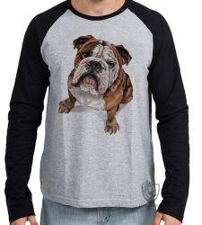 Camiseta Manga Longa Cachorro Bulldog Dog