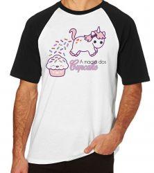 Camiseta Raglan Magia Cupcake Unicórnio