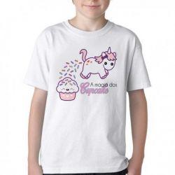 Camiseta Infantil Magia Cupcake Unicórnio