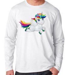 Camiseta Manga Longa Cavalo Unicórnio