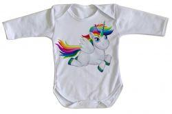 Roupa Bebê manga longa Cavalo Unicórnio