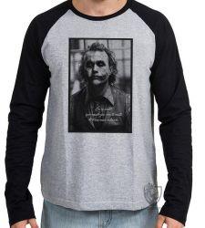 Camiseta Manga Longa Coringa Cavaleiro das Trevas