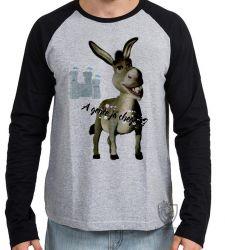 Camiseta Manga Longa Shrek burro