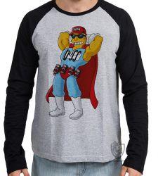 Camiseta Manga Longa Simpsons Duff Man