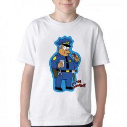 Camiseta Infantil Simpsons Policial