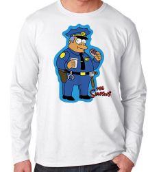 Camiseta Manga Longa Simpsons Policial