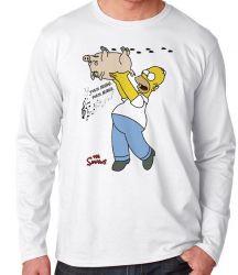 Camiseta Manga Longa Simpsons Porco Aranha Homer
