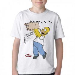 Camiseta Infantil Simpsons Porco Aranha Homer