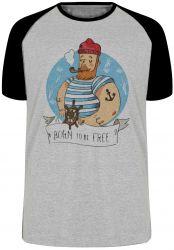 Camiseta Raglan Marinheiro Free