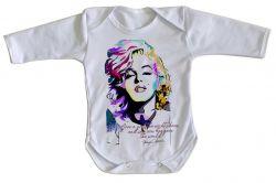 Roupa Bebê manga longa Marilyn Monroe frase
