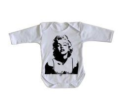 Roupa Bebê manga longa Marilyn Monroe