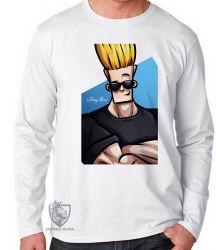 Camiseta Manga Longa Johnny Bravo cabelo