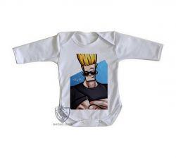 Roupa Bebê manga longa Johnny Bravo cabelo