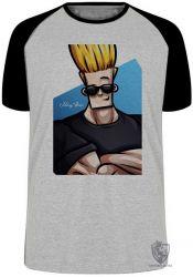 Camiseta Raglan Johnny Bravo cabelo