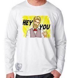Camiseta Manga Longa Hipster Hey you