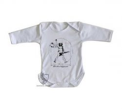 Roupa Bebê manga longa Homem Vitruviano Rock