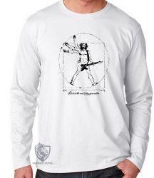 Camiseta Manga Longa Homem Vitruviano Rock