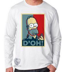 Camiseta Manga Longa Homer Simpsons D'oh