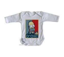 Roupa Bebê manga longa Homer Simpsons D