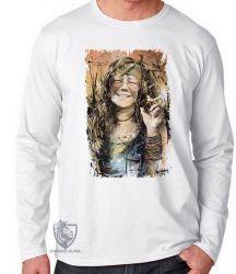Camiseta Manga Longa Janis Joplin
