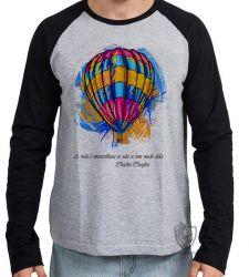 Camiseta Manga Longa Balão Charles Chaplin
