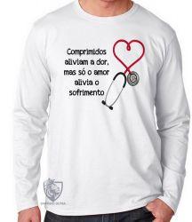 Camiseta Manga Longa Comprimidos aliviam