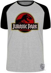 Camiseta Raglan Jurassic Park clássico