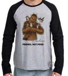 Camiseta Manga Longa Chewbacca friends not food