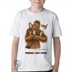 Camiseta Infantil Chewbacca friends not food