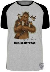 Camiseta Raglan  Chewbacca friends not food
