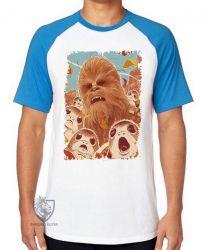 Camiseta Raglan Chewbacca Porgs