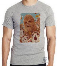 Camiseta Infantil Chewbacca Porgs
